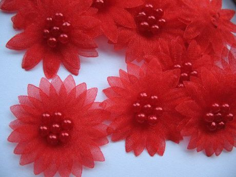 10 X RED ORGANZA DAISY BEADED FLOWER EMBELLISHMENTS HEADBANDS HAIR BOWS CRAFTS
